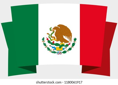 A 3D Banner with the Country Flag of  Mexico