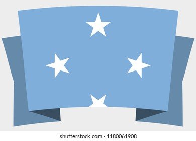 A 3D Banner with the Country Flag of  Micronesia