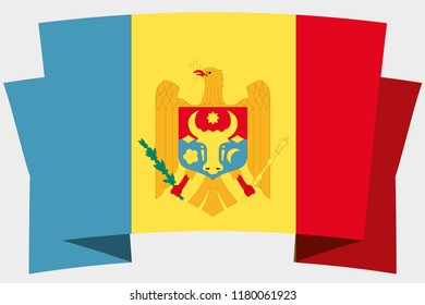 A 3D Banner with the Country Flag of  Moldova