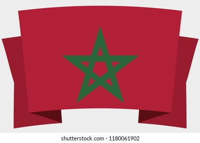 A 3D Banner with the Country Flag of  Morocco