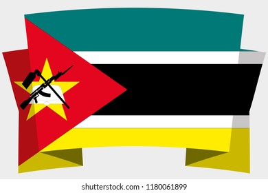 A 3D Banner with the Country Flag of  Mozambique