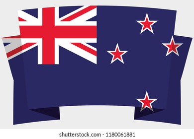 A 3D Banner with the Country Flag of  New Zealand