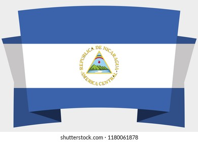 A 3D Banner with the Country Flag of  Nicaragua