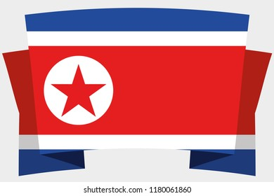 A 3D Banner with the Country Flag of  North Korea