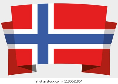 A 3D Banner with the Country Flag of  Norway