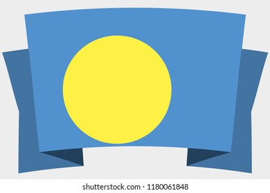 A 3D Banner with the Country Flag of  Palau