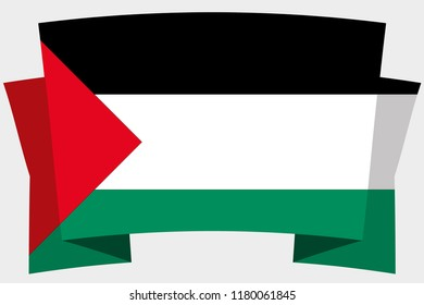 A 3D Banner with the Country Flag of  Palestine