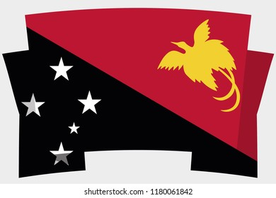 A 3D Banner with the Country Flag of  Papua New Guinea