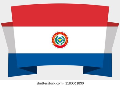 A 3D Banner with the Country Flag of  Paraguay