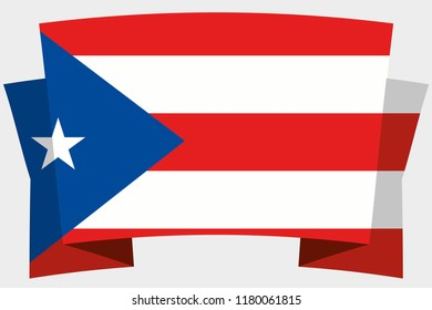 A 3D Banner with the Country Flag of  Puerto Rico