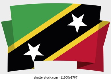 A 3D Banner with the Country Flag of  Saint Kitts and Nevis