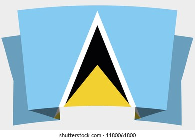 A 3D Banner with the Country Flag of  SaintLucia