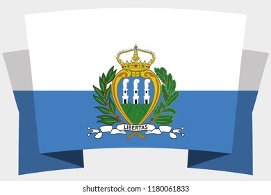A 3D Banner with the Country Flag of  San Marino