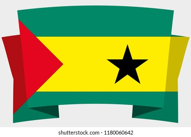 A 3D Banner with the Country Flag of  Sao Tome and Principe
