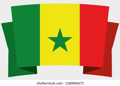 A 3D Banner with the Country Flag of  Senegal