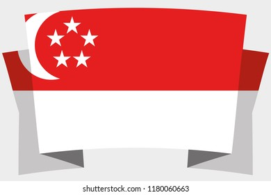 A 3D Banner with the Country Flag of  Singapore