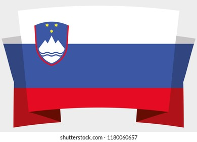 A 3D Banner with the Country Flag of  Slovenia