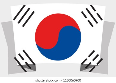A 3D Banner with the Country Flag of  South Korea