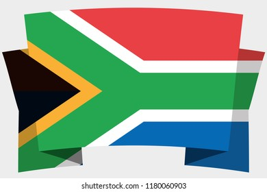 A 3D Banner with the Country Flag of  South Africa