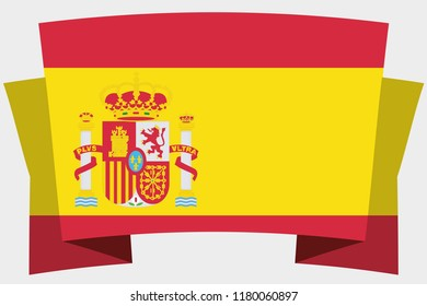 A 3D Banner with the Country Flag of  Spain