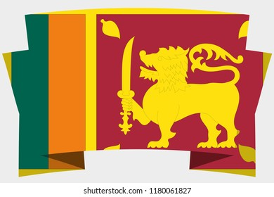 A 3D Banner with the Country Flag of  SriLanka