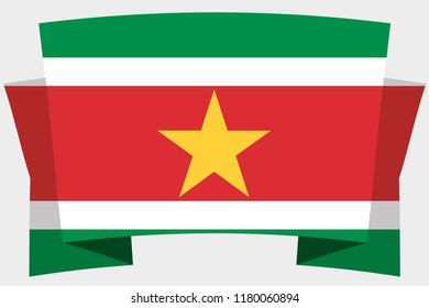 A 3D Banner with the Country Flag of  Suriname