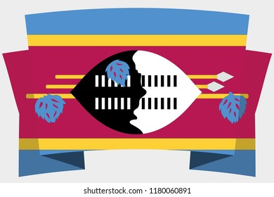 A 3D Banner with the Country Flag of  Swaziland