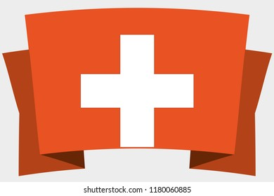 A 3D Banner with the Country Flag of  Switzerland