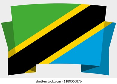 A 3D Banner with the Country Flag of  Tanzania