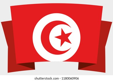 A 3D Banner with the Country Flag of  Tunisia