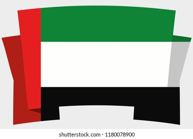 3D Banner with the Country Flag of United Arab Emirates