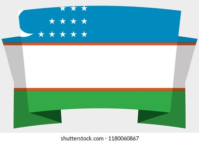A 3D Banner with the Country Flag of  Uzbekistan