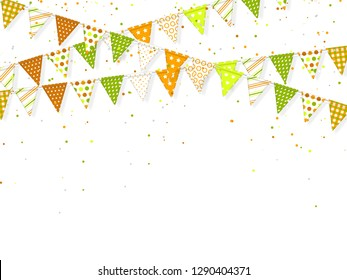 3d banting flags with confetti for Indian holidays. Decorative element in traditional tricolor of indian flag. White background. Vector illustration.