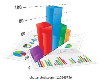3D Bar Chart, vector file./3D Bar Chart
