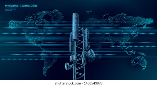 3d base station receiver. telecommunication tower 4g polygonal design global connection information transmitter. Mobile radio antenna cellular vector illustration