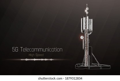 3d base station receiver. telecommunication tower 5g polygonal design global connection information transmitter. Mobile radio antenna cellular vector illustration, plexus,high speed,sound wave