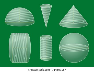 3d basic shapes. Sphere, hemisphere, cone, cylinder. Cross-section.
