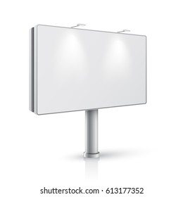 3d billboard template. Clear banner for your design. Vector, isolated on white