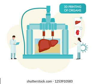 3D Bioprinter. Human Organs replicated concept. Vector cartoon flat illustration