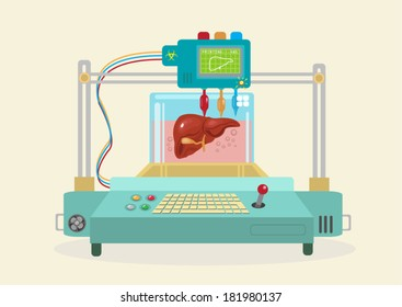 3D Bioprinter. Human Organs replicated. EPS10 flat vector.