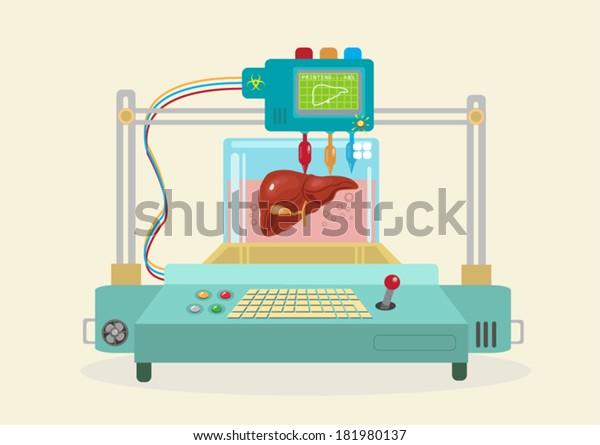3D Bioprinter. Human Organs replicated. EPS10 flat vector.