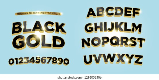3D Black Gold Lettering Text with shining light. Vector eps.10