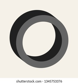 3D black ring. Simple illustration of a round, cylindrical shape.