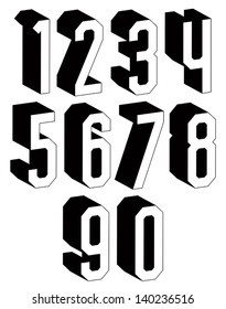 3d black and white geometric numbers, stylish simple shaped numerals for design.