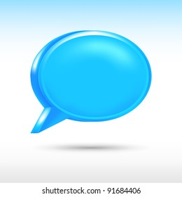 3d blank blue speech bubble shape with drop gray shadow on white background. Vector illustration created in the technique of wire mesh and saved eps 8