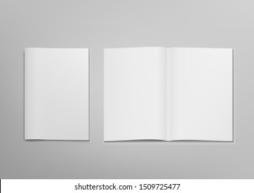 3D Blank Clear Opened Magazine Mockup With Cover. EPS10 Vector