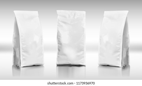 3D Blank Foil Or Paper Food Or Chemical Pouch Bag Pack. EPS10 Vector