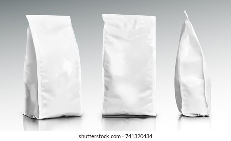3D Blank Foil Or Paper Food Pouch Bag Pack. EPS10 Vector