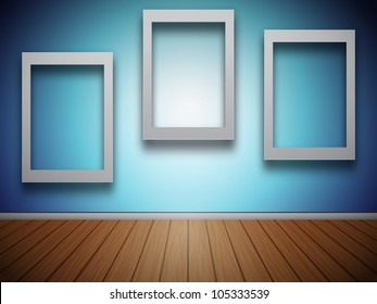 3D Blank Photo Frames at the Wall for Your Text or Photo - EPS10 Vector Illustration