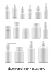 3d blank template medical packaging for pill and liquid medication: spray bottles, container for drug, medicine jar with cap. Realistic mock-up of white plastic pack. Vector set for package design